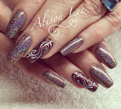 Gel ll 'welcome back' with 'amelia' magpie glitter and gel paint design on natural nails #nails