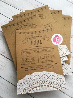 Invitaciones Tarjetas Casamiento Papel Madera Kraft Blonda - $ 18,00