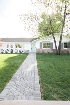 Brick paver front path laid on a herringbone pattern - as featured on Rafterhouse pilot episode on HGTV. Backyard Walkway, Outdoor Walkway, Brick Walkway, Stone Driveway, Front Walkway Landscaping, Stamped Concrete Walkway, Front Yard Patio, Porch, Backyard Landscaping