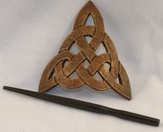 Leather Celtic Trinity Knot Hair Barrette by ArmouredWolf on Etsy, $29.99