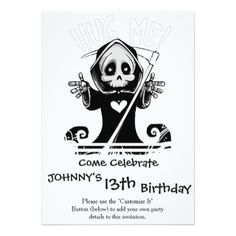 Cute reaper-baby reaper-cartoon reaper-baby grim card - birthday gifts party celebration custom gift ideas diy