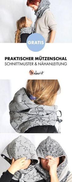 Gratis Anleitung: Mützenschal einfach nähen - Schnittmuster und Nähanleitung via Makerist.de