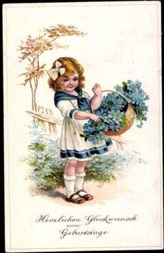 Postcard Glückwunsch Geburtstag, Kleins Mädchen, Blumenkorb, Vergissmeinnicht