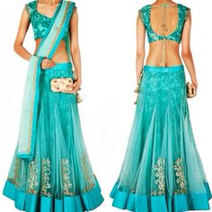 Aqua marine tulle lehenga with lace underskirt and silver badly zari embellishment around bottom hem Available with us. Contact us at fashioncloset06@gmail.com for enquiries Visit us at www.instagram.com/fashioncloset06 and www.facebook.com/fashioncloset6 for more designs