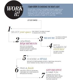#LIGHTING TIP  7 steps to choosing the right light via Hinkley's Lighting Made Simple Magazine   http://www.hinkleylighting.com/ https://www.facebook.com/hinkleylighting