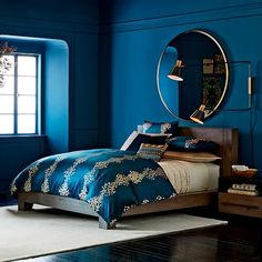 Metal framed 122 cm round mirror home decor спальня, дизайн Blue Bedroom Paint, Blue Bedroom Decor, Bedroom Inspo, Bedroom Colors, Home Bedroom, Teal Master Bedroom, Peacock Blue Bedroom, Bedroom Furniture Uk, Bedroom Ideas
