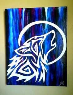 Check out this item in my Etsy shop https://www.etsy.com/listing/230622852/tribal-wolf-howling-at-the-moon-crayon