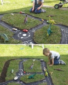 Kids Back Yard Tire Race Car Track - full tutorial on our site
