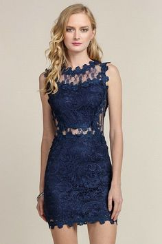 Navy Mesh & Lace Cocktail Dress