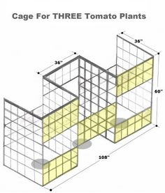 Drawing by Robert Kernodle of a homemade three-compartment tomato cage. Veg Garden, Tomato Garden, Tomato Plants, Garden Trellis, Vegetable Gardening, Garden Plants, House Plants, Tomato Trellis, Tomato Cages