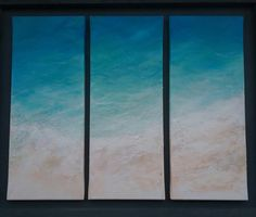 Beach Painting large original triptych 3 Canvases each 50cm height by 20cm width acrylic and real sand turquoise sea modern home decor by FGillies on Etsy