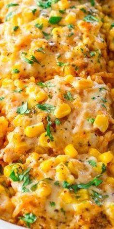 All the makings of a chicken enchilada but with rice. It's simply delicious! I used a can if enchilada sauce & thawed out frozen corn. Think Food, I Love Food, Food For Thought, Good Food, Yummy Food, Top Recipes, Mexican Food Recipes, Cooking Recipes, Healthy Recipes