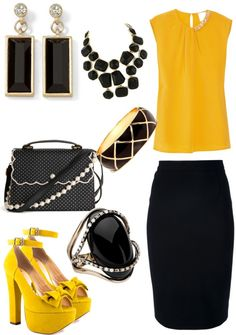 Black Pencil Skirt, Canary Yellow Blouse, Black and Gold Accessories