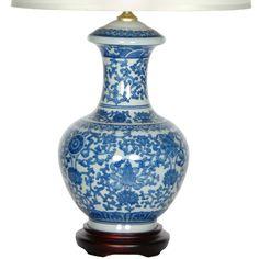 "Oriental Furniture Porcelain Round Vase 24"" Table Lamp & Reviews   Wayfair"