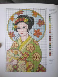 point de croix femme geisha , cross stitch woman geisha japanese 3