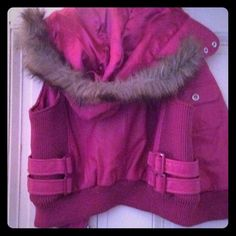 Lambskin pink jacket, L Vivid fuschia leather jacket with fur hood trim on leather and lined in pink satin. Made of Italian Lambskin. Hood removable, has unseen zipper. Designed like a motorcycle jacket, slightly fitted with expandable wool stretch to sides and waist. Two breast pockets and two front perpendicular pockets, unseen. Beautiful stitching. Made by Knoles of Carter. M to Lg. NEW Knoles of Carter, Italy Jackets & Coats