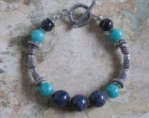 Iolite Amazonite Sterling Bracelet