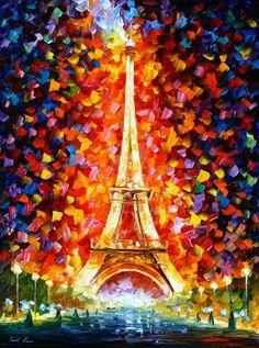 Paris Eiffel Tower Palette Knife France Wall por AfremovArtStudio