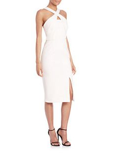 White Bonded Crepe Cross-Over Dress, NICHOLAS | Sak's