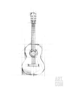 Guitar Sketch Art Print by Ethan Harper at Art.com                                                                                                                                                                                 More