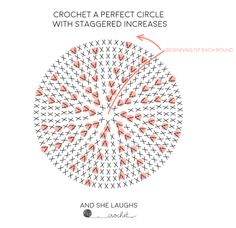 Crocheting a Perfect Circle with Staggered Increases (& Decreases) - and she lau. - Crocheting a Perfect Circle with Staggered Increases (& Decreases) – and she laughs crochet The E - Crochet Circle Pattern, Crochet Diagram, Crochet Motif, Crochet Doilies, Crochet Stitches, Crochet Hooks, Crochet Patterns For Beginners, Knitting Patterns, Diy Crafts Crochet