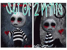 Creepy Cute Zombie Giclee Art Print Signed Reproductions Set of 2 Big Juicy Tears of Blood and Pain No1 & 2  by Lizzy Love [IMG#8] [IMG#9] by OddballArtCo on Etsy https://www.etsy.com/listing/100137836/creepy-cute-zombie-giclee-art-print