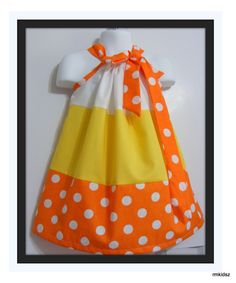 SALE Custom Made Pillowcase Dress--sizes available 4T to 8 years old-Candy Corn. $15.00, via Etsy.