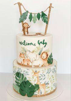 Safari Baby Shower Cake, Torta Baby Shower, Baby Shower Deco, Baby Shower Cakes For Boys, Baby Boy Cakes, Baby Shower Jungle, Jungle Birthday Cakes, Jungle Theme Cakes, Safari Cakes