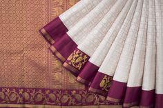 Handwoven Kanjivaram Silk Sari with Chakaram and Mayil 1028524 - Saris / All Saris - Parisera Bridal Sarees South Indian, Indian Silk Sarees, Wedding Silk Saree, Indian Beauty Saree, Indian Bridal, Mysore Silk Saree, Silk Saree Kanchipuram, Kanjivaram Sarees, Sari Silk