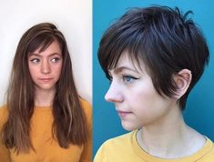 Need a hair transformation? Check out these before and after haircuts for women to convince you it's time for a change! Need a hair transformation? Check out these before and after haircuts for women to convince you it's time for a change! Haircuts For Thin Fine Hair, Short Hair Cuts For Women, Short Hair Styles, Short Haircuts, Buzzed Hair Women, Back To School Haircuts, Before And After Haircut, Long Pixie, Wild Hair