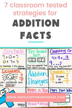 Looking for new addition strategies for primary students? Check out these 7 simple math strategies and ideas that are sure to help your learners master their addition facts quickly while having fun! Click the pin to check them out.