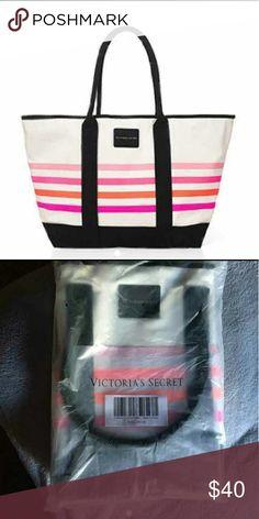 New Victoria Secret Canvas Tote Brand new still in packaging. Colorful Victoria Secret canvas tote. Victoria's Secret Bags Totes