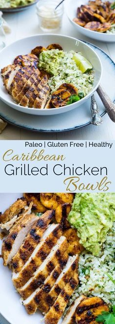 Caribbean Chicken Bowls - These paleo-friendly bowls have grilled plantains, cauliflower rice and avocado! A healthy, gluten free summer meal for under 500 calories! #500caloriemeals