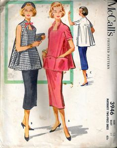 83d314abcf436 Vintage 1956 McCall's 3946 Maternity Two-Piece Dress Maternity Sewing  Patterns, Dress Sewing Patterns