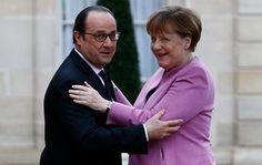 Paris, France: President François Hollande greets the German chancellor, Angela Merkel