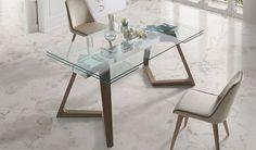 Mesa comedor Extensible con Tapa de Cristal y patas de Madera Ref Q134000