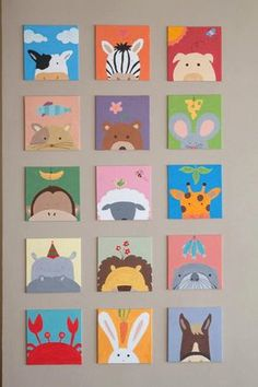 Painting for kids room 1 set painting) for baby shower - kinderzimmer Small Canvas Art, Kids Canvas, Mini Canvas Art, Painting For Kids, Diy Painting, Painting For Baby Room, Paintings For Kids Room, Painting Shower, Canvas Paintings