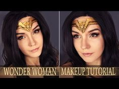 Wonder Woman Makeup Tutorial Comic Makeup, Wonder Woman Makeup, Halloween Tutorial, Makeup Tutorials Youtube, Gal Gadot, Halloween Makeup, Make Up, Good Things, Costume Ideas