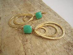 Chrysoprase Gold Vermeil Brushed Hoop Statement Earrings