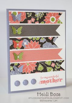 Floral and Patterned Paper w/Butterflies Mother's Day Card
