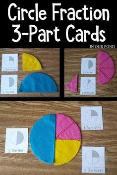 Fraction Cards for Elementary Math Fractions For Kids, Math Fractions, Dividing Fractions, Equivalent Fractions, Homeschool Math, Montessori Activities, Homeschooling, Math Art, Fun Math