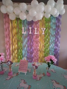 Rainbow streamers backdrop for unicorn party. Rainbow streamers backdrop for unicorn party. Rainbow streamers backdrop for unicorn party. Rainbow Unicorn Party, Unicorn Themed Birthday Party, Rainbow Birthday Party, Unicorn Birthday Parties, First Birthday Parties, Birthday Party Decorations, Birthday Ideas, Birthday Streamers, Rainbow Party Decorations