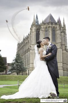 #Bride & #Groom outside @LancingCollege Chapel on the day of #Shoreham #AirShow Sussex