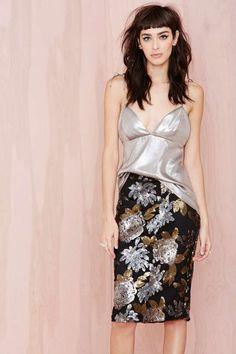 Joa Metal Petal Sequin Skirt | Shop You, Me and the Moon at Nasty Gal