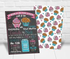 Cupcake or Stud Muffin Invitation, Gender Reveal Invitation Printable, Pink and Blue, Chalkboard Style, Blue or Pink Gender Reveal Themes, Gender Reveal Party Invitations, Shower Invitations, Personalized Invitations, Printable Invitations, Party Printables, Invitation Design, Invite