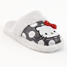 """HELLO KITTY Slippers Womens 5/6 NEW Fuzzy Gray Sequined 5 6 Big Girls SMALL NWT #HelloKitty #Slippers BRAND NEW WITH TAGS womens slippers, size 5/6. They are white and gray """"Hello Kitty"""" slippers that are a very soft fuzzy white material on the inside with a white rubber bottom and have a pretty gray and white dotted & sequined detailing"""
