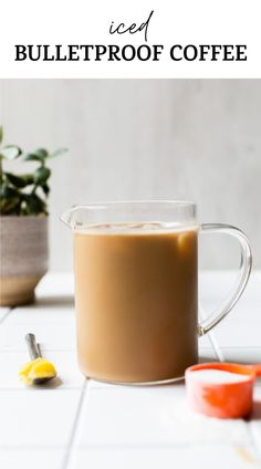 ICED BULLETPROOF COFFEE! Yes, you can enjoy bulletproof coffee over ice, and this post shows you how to make the perfect recipe. It's paleo   keto and a delicious, healthy way to start the day #bulletproofcoffee #icedcoffee #icedbulletproof Healthy Breakfast Recipes, Healthy Snacks, Snack Recipes, What Is Bulletproof Coffee, Coffee Ingredients, Paleo, Keto, Dairy Free Milk, Grass Fed Butter
