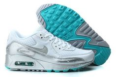 finest selection c4d6e dd76c Nike Air Max 90 Womenss Running Shoes Silver Green Gray Sweden Nike Running  Shoes Women,