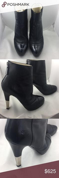 Authentic Chanel Ankle Boots! In excellent condition! Has some wear on soles.  Really gorgeous boots. The silver on the heel makes it look so chic! Heels are 4 1/2 inches high with a small platform of 3/4 of an inch. Box and dust covers are not included. CHANEL Shoes Ankle Boots & Booties
