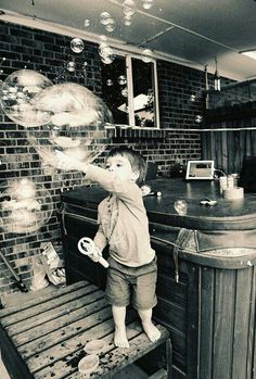 Little boy + bubbles